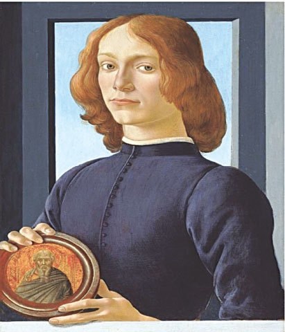 Portrait of a Young Man Holding a Medallion, Sandro Botticelli