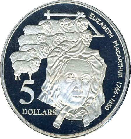 A commemorative coin issued by the Royal Australian Mint in 1995 features Elizabeth Macarthur for her contributions to the Australian wool industry | Public domain