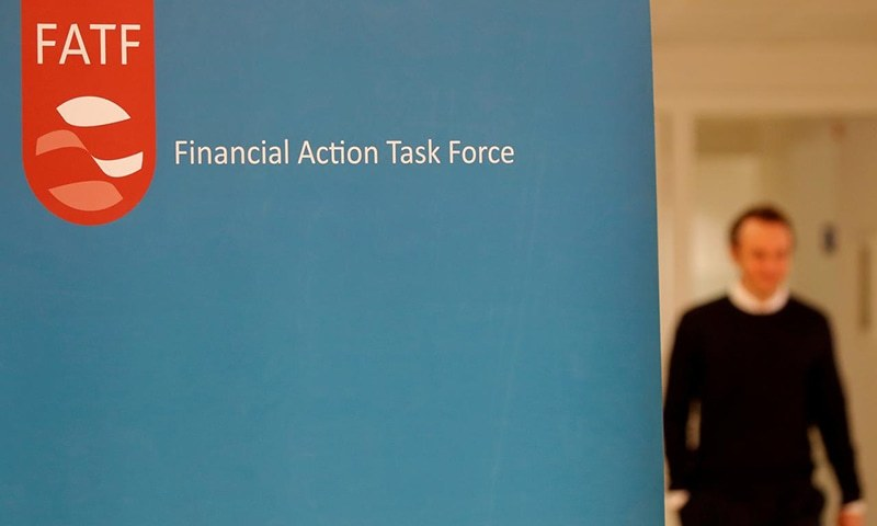 In this file photo, the logo of the FATF (the Financial Action Task Force) is seen after a plenary session in Paris. — Reuters