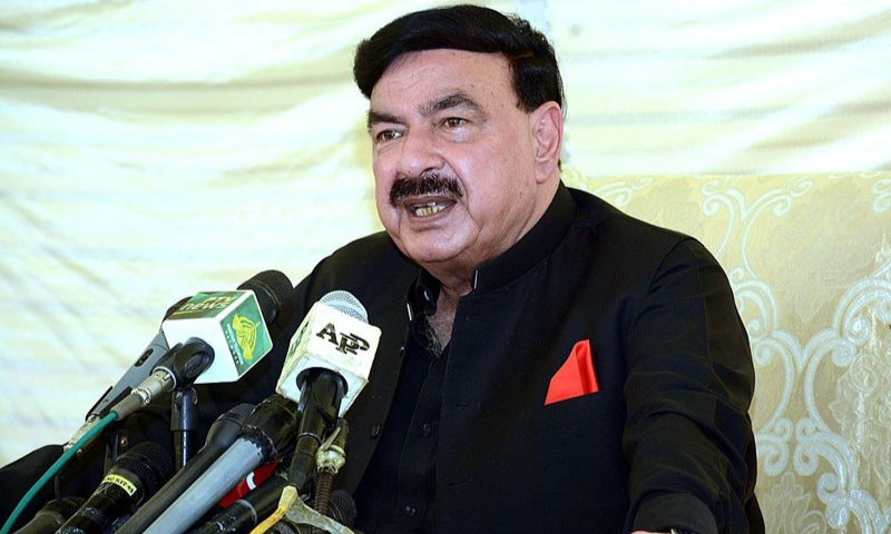 In this file photo, Sheikh Rashid addresses a press conference. — APP