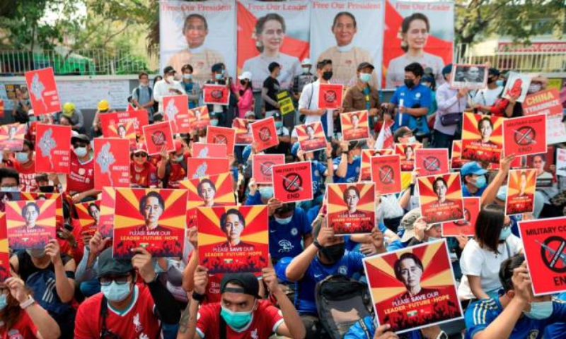 Demonstrators protest against the military coup in Yangon, Myanmar, February 21. — Reuters