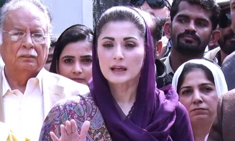 PML-N Vice President Maryam Nawaz speaks to the media in Lahore before setting out for Daska. — DawnNewsTV