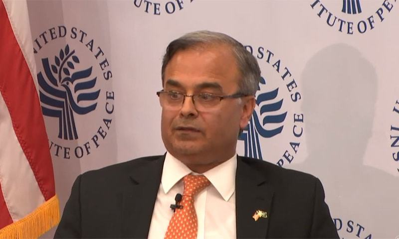 """""""Pakistan is committed to a peaceful neighbourhood, the onus is now on India to create the right conditions,"""" said the country's US envoy, Asad Majeed Khan. — Photo: Screengrab/United States Institute of Peace Youtube channel"""