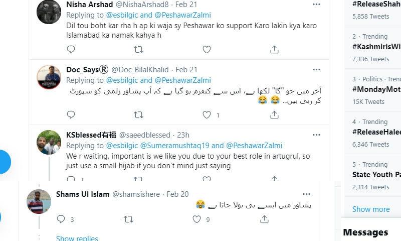 بعض افراد نے ان کی پوسٹ پر لکھا کہ ان کے لکھنے کے انداز سے ہی معلوم ہوتا ہے کہ وہ پشاور زلمی کو سپورٹ کریں گی—اسکرین شاٹ