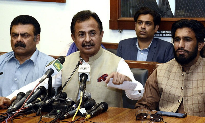 In this Oct 2020 file photo, Leader of the Opposition in the Sindh Assembly Haleem Adil Sheikh addresses a press conference in Karachi. — APP