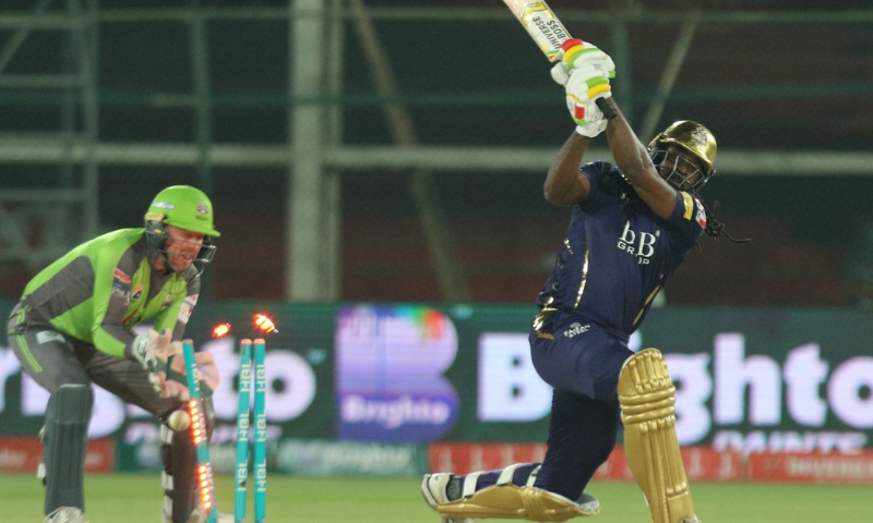 Quetta Gladiators Chris Gayle is bowled out by Rashid Khan. — Photo courtesy: Lahore Qalandars Twitter