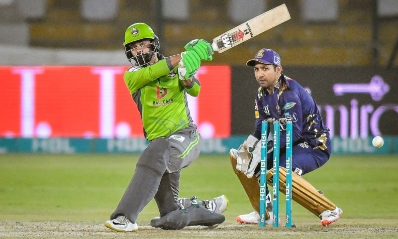 Mohammad Hafeez hits a shot during the match against Quetta Gladiators on Monday. — Photo courtesy: PSL Twitter