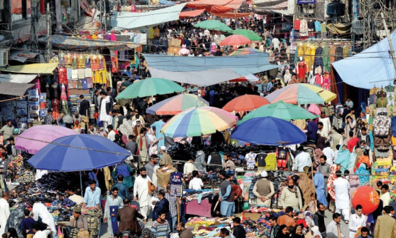 Encroachment at Rawalpindi's Bara Market has gone unnoticed for several years. — White Star