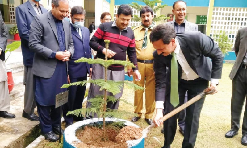 FDE Director General Dr Ikram Ali Malik plants a sapling at Islamabad Model College for Boys, G-7/2, on Monday. — White Star
