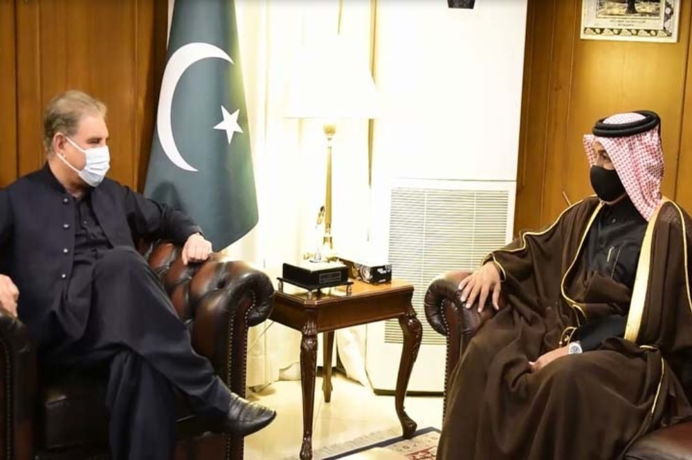 Foreign Minister Shah Mahmood Qureshi (left) meets Special Envoy of Foreign Minister of Qatar Dr Mutlaq bin Majed Al-Qahtani. — Photo courtesy Radio Pakistan