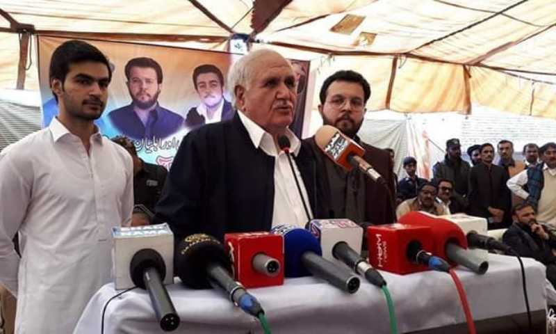 In this file photo,  Liaquat Khattak addresses a gathering. — Photo courtesy: Facebook