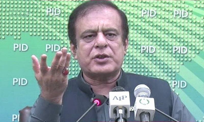In this file photo, Information Minister Shibli Faraz addresses a press conference. — DawnNewsTV/File