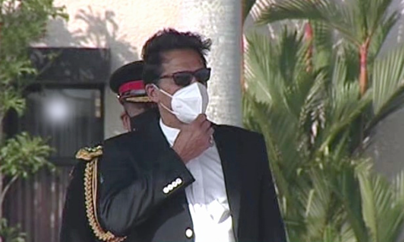 Prime Minister Imran Khan is seen on his arrival in Sri Lanka. — DawnNewsTV