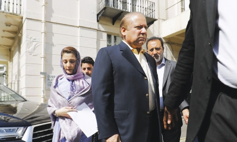 This file photo shows former PM Nawaz Sharif and his daughter Maryam Nawaz in London. — AFP/File