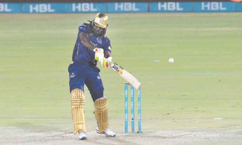 CHRIS Gayle on song during his innings pf 68  against Lahore Qalandars on Monday night. —Tahir Jamal/White Star