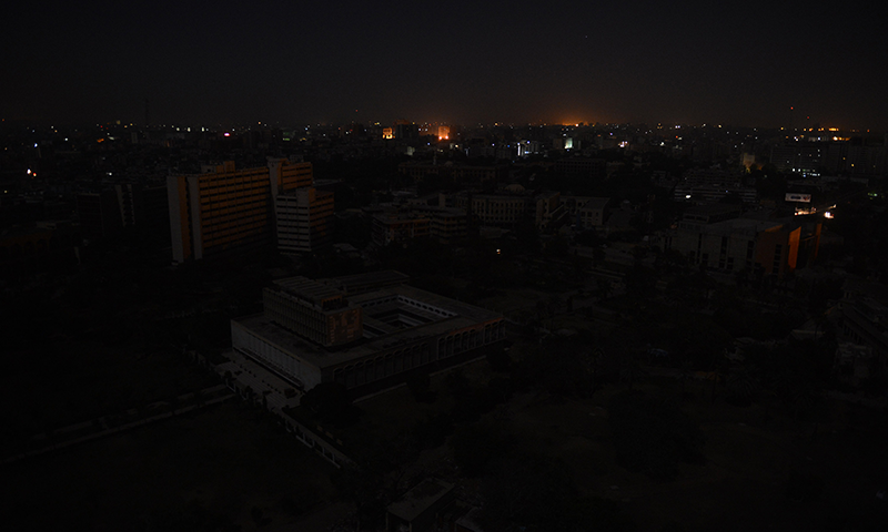 An aerial view of buildings and homes during a nationwide power blackout.—AFP/File