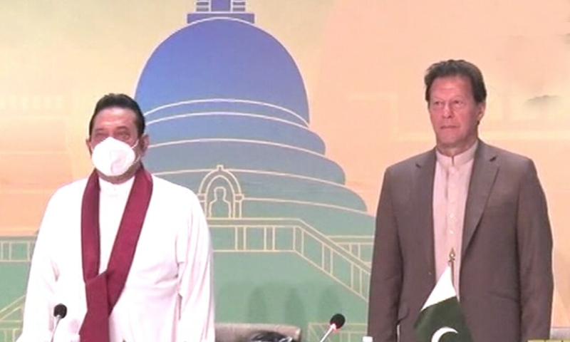 وزیراعظم عمران خان، سری لنکن وزیراعظم کے ہمراہ تجارت و سرمایہ کاری کانفرنس میں شریک ہوئے — تصویر: ڈان نیوز