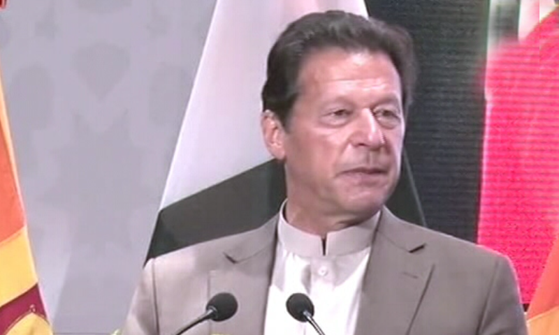 Prime Minister Imran Khan addresses the Pakistan-Sri Lanka Trade and Investment Conference in Colombo. — DawnNewsTV