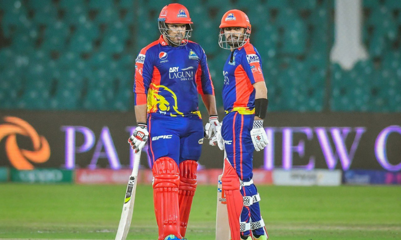 Karachi Kings Sharjeel Khan and Babar Azam during their match against Islamabad United in Karachi on Wednesday. — Photo courtesy PSL Twitter