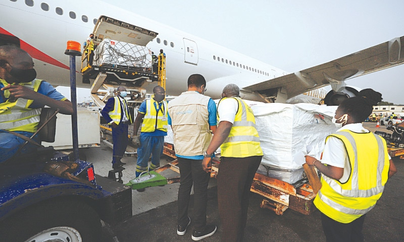 THE first shipment of Covid-19 vaccines distributed by the Covax facility arrives at Kotoka airport in Accra Ghana.—AP