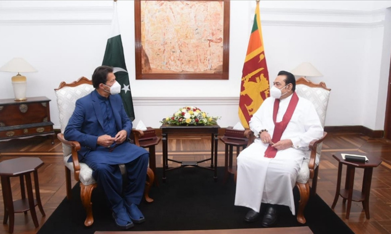Prime Minister Imran Khan meets his Sri Lankan counterpart Mahinda Rajapaksa in Colombo, Sri Lanka on Wednesday on the second day of his official visit to Sri Lanka. — Anadolu Agency