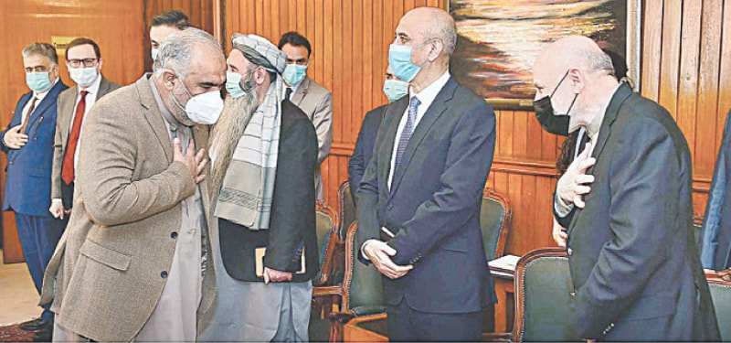 ISLAMABAD: National Assembly Speaker Asad Qaiser receives Mohammed Omer Daudzai, the Afghan president's Special Representative for Pakistan, at Parliament House on Thursday.—APP