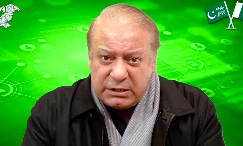 PML-N supremo Nawaz Sharif spoke in a video address on the ECP's decision on the NA-75 (Daska) by-polls. — DawnNewsTV