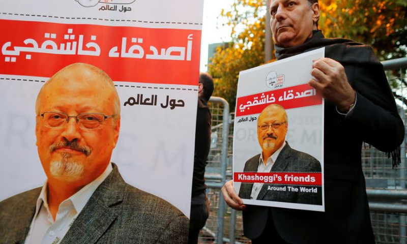 In this file photo, friends of Saudi journalist Jamal Khashoggi hold posters and banners with his pictures during a demonstration outside the Saudi Arabia consulate in Istanbul, Turkey. — Reuters