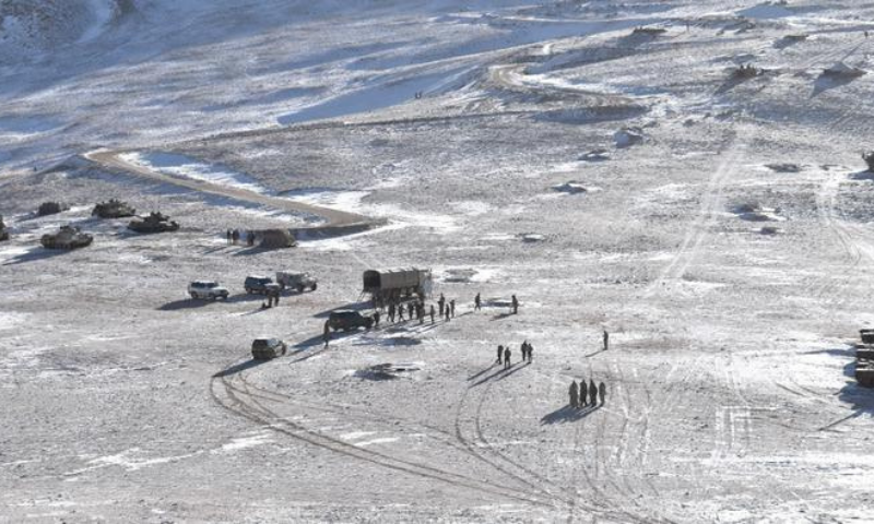 A handout photo released by Indian Army on February 16 shows the disengagement process between Indian Army and China's People's Liberation Army from a contested area in the western Himalayas, in Ladakh region. — Reuters/File