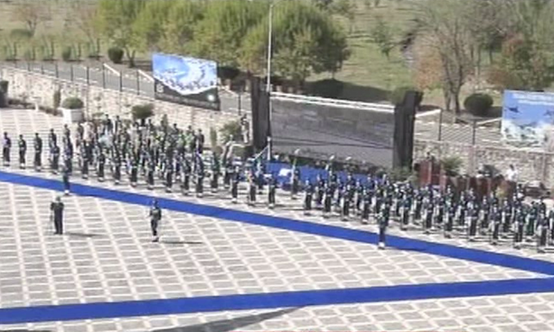 A contingent of the Pakistan Air Force is seen during the ceremony. —DawnNewsTV