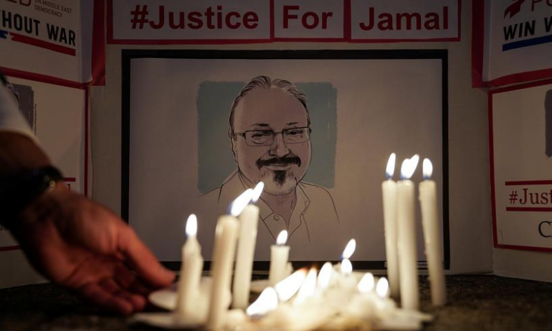The Committee to Protect Journalists and other press freedom activists hold a candlelight vigil in front of the Saudi Embassy to mark the anniversary of the killing of journalist Jamal Khashoggi at the kingdom's consulate in Istanbul. — Reuters/File