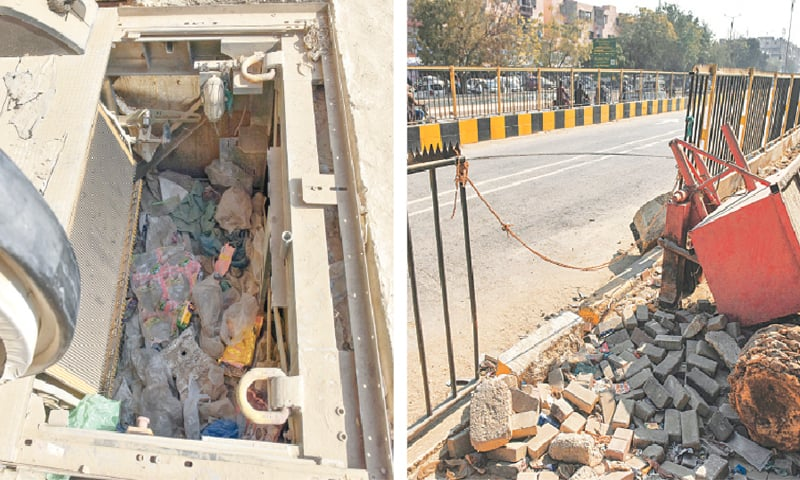 While billions of rupees — from the taxpayer's pocket — have been poured into the Green Line project, the people of Karachi have yet to gain any benefits from this scheme. The base of the escalator is being used as a garbage dump at the Shadman Town station while (right) a portion of the grill has broken near Nagan Chowrangi. — Fahim Siddiqi/White Star