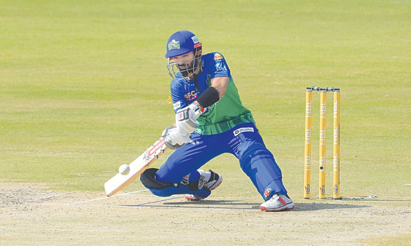 MULTAN Sultans captain Mohammad Rizwan attempts an unorthodox shot during the match against Karachi Kings on Saturday.—White Star