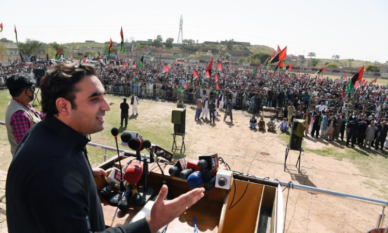 PPP Chairman Bilawal Bhutto-Zardari addresses people at Babri Banda football ground in Kohat on Saturday. — Photo courtesy: PPP Twitter