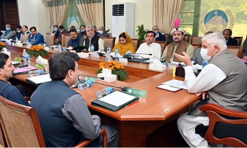 Khyber Pakhtunkhwa Chief Minister Mahmood Khan chairs the second meeting here on developmental schemes and people's issues in Malakand division on Saturday. — Photo courtesy KPK updates Twitter