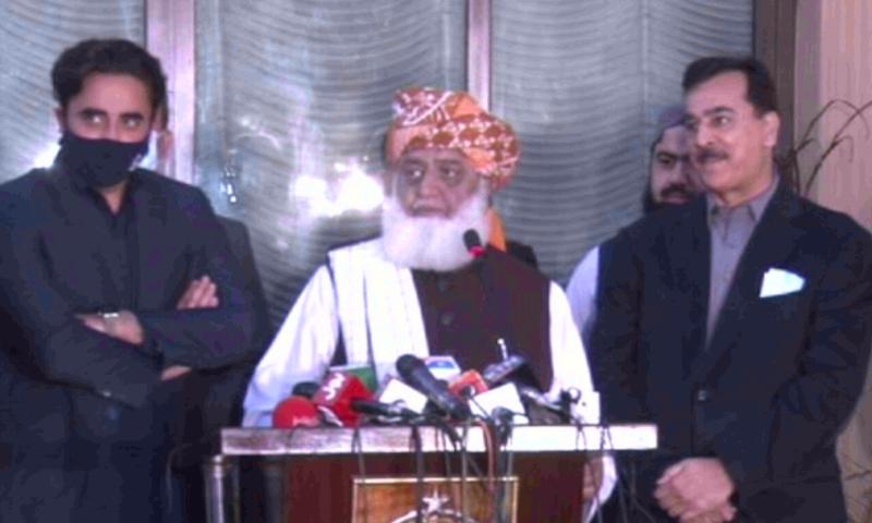 Bilawal Bhutto-Zardari, Maulana Fazlur Rehman and Yousuf Raza Gilani interacting with the media in Islamabad. — DawnNewsTV