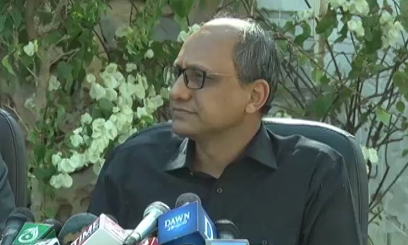 Sindh Education Minister Saeed Ghani addresses a press conference. — DawnNewsTV