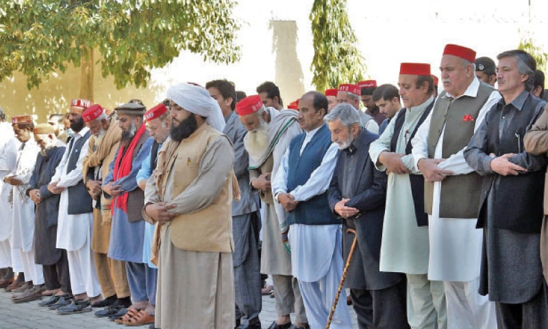 ANP leaders and activists offer funeral prayers at Bacha Khan Markaz, Peshawar, on Sunday. — White Star