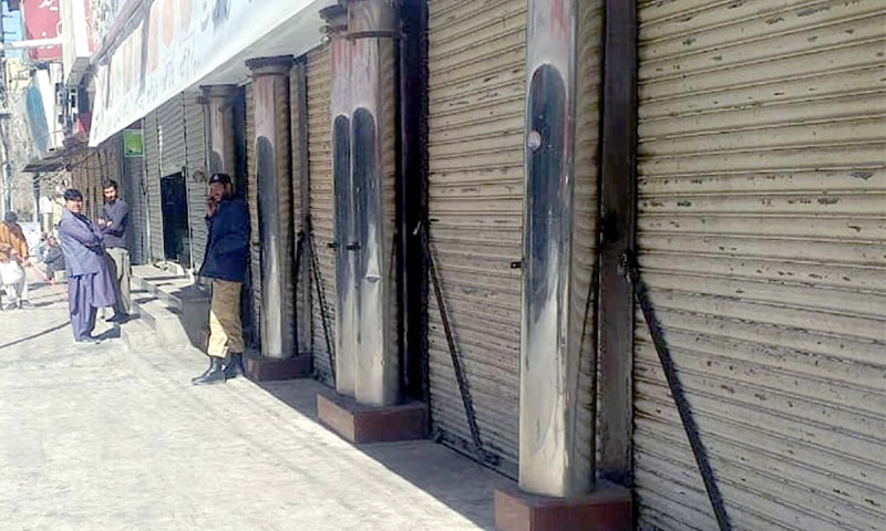 QUETTA: Shops remain closed on Sunday on a strike call given by Awami National Party in protest against the killing of its leader Asad Achakzai.—PPI