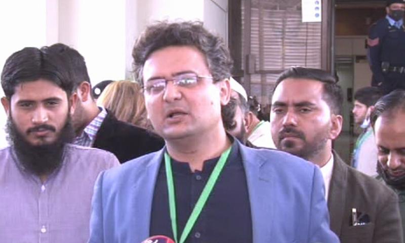 PTI's Senator Faisal Javed speaks to media outside the Supreme Court. — DawnNewsTV