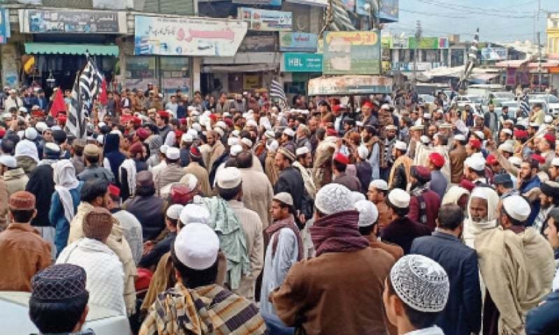 People came out on the roads in different parts of the Abbottabad city on Saturday and in Haripur on Sunday to protest alleged desecration of the Holy Quran by an undertrial prisoner in the Abbottabad jail. — Dawn/File