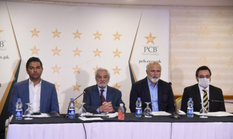 Officials of the Pakistan Cricket Board (PCB) address a press conference in Karachi on Sunday. — Photo courtesy PCB
