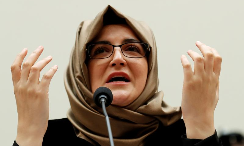 """Hatice Cengiz said, """"it is vital for all world leaders to ask themselves if they are prepared to shake hands with a person whose culpability as a murderer has been proven"""". — Reuters/File"""