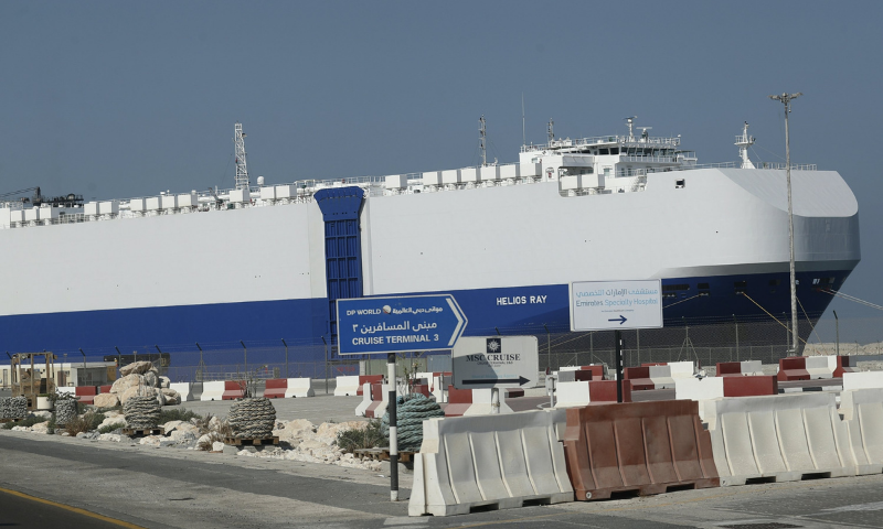 The Israeli-owned cargo ship, Helios Ray, sits docked in port after arriving earlier in Dubai, United Arab Emirates on Sunday. — AP