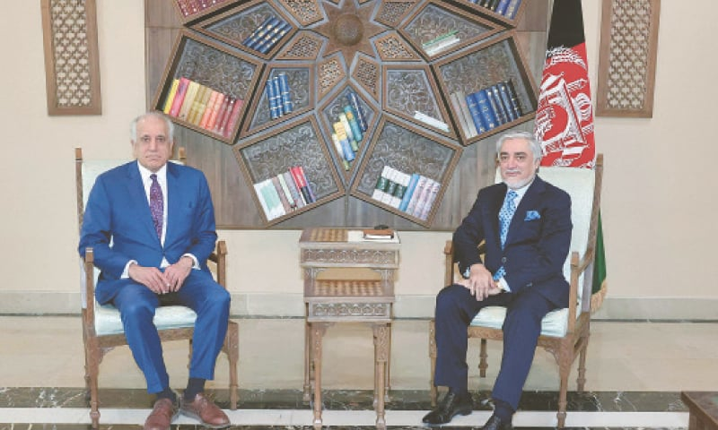 Chairman of Afghanistan's High Council for National Reconciliation Abdullah Abdullah pictured during a meeting with US Special Representative for Afghanistan Reconciliation Zalmay Khalilzad. — AFP