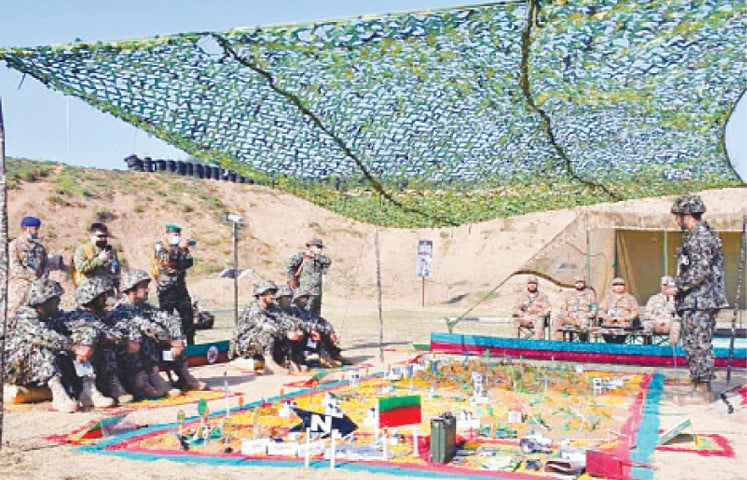 PABBI: Some members of the teams of Pakistan Army and those of militaries of eight other countries participating in a competition held at the National Counter-Terrorism Centre here on Monday.—PPI
