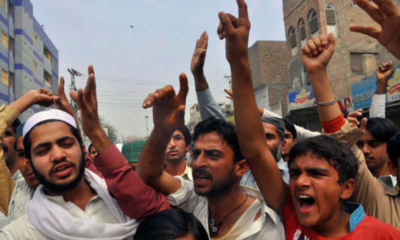 The activists of political parties staged a protest in front of the central prison in Haripur on Monday against the alleged desecration of the Holy Quran by an under-trial prisoner of the Abbottabad district jail. — File photo