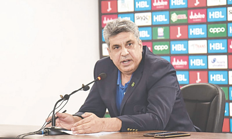 PCB media director Samiul Hasan speaks to reporters at NSK on Tuesday. —courtesy PCB