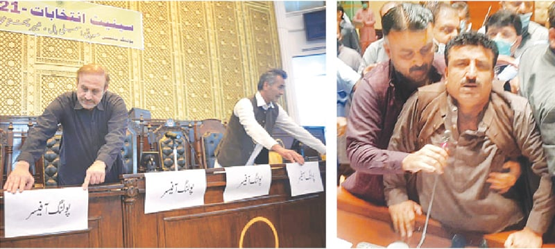 STAFF members of the Khyber Pakhtunkhwa Assembly make final arrangements on Tuesday for polling to elect new members of the upper house of parliament; and (right) Karim Bakhsh Gabol, a Pakistan Tehreek-i-Insaf member of the Sindh Assembly who has said he will not vote for his party's candidates in Senate elections, is grabbed by a colleague, Raja Azhar, after he enters the assembly hall.—PPI