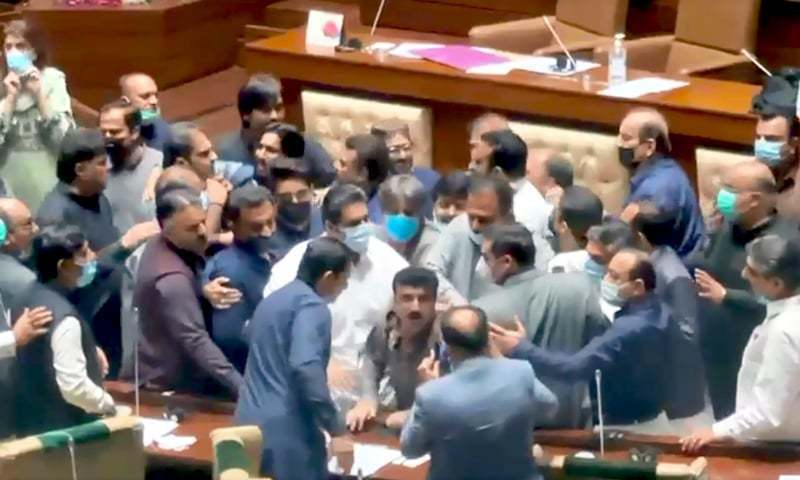 A view of the scuffle in the Sindh Assembly on Tuesday. — DawnNewsTV